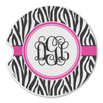 Zebra Print Sandstone Car Coasters (Personalized)