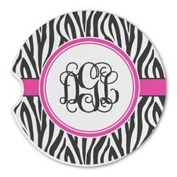 Zebra Print Sandstone Car Coasters (Personalized)