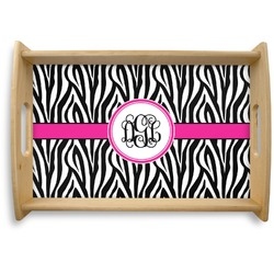 Zebra Print Natural Wooden Tray (Personalized)