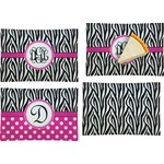 Zebra Print Set of 4 Rectangular Appetizer / Dessert Plates (Personalized)