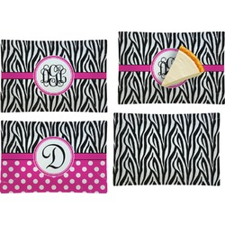 Zebra Print Set of 4 Glass Rectangular Appetizer / Dessert Plate (Personalized)