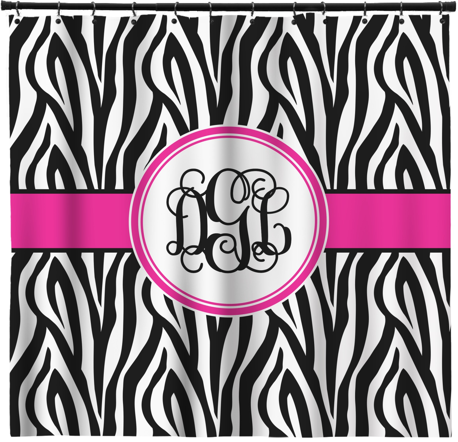 Zebra Print Shower Curtain Personalized