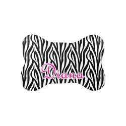 Zebra Print Bone Shaped Dog Food Mat (Small) (Personalized)