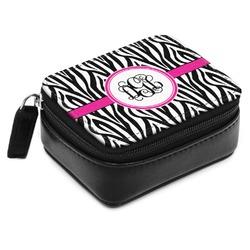 Zebra Print Small Leatherette Travel Pill Case (Personalized)