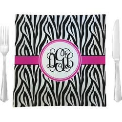 "Zebra Print Glass Square Lunch / Dinner Plate 9.5"" - Single or Set of 4 (Personalized)"