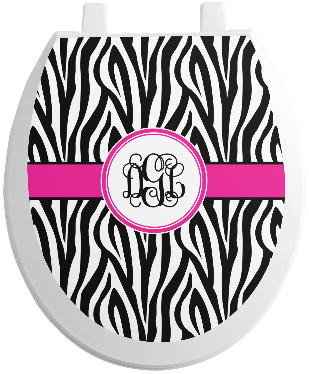 zebra print toilet seat decal round personalized. Black Bedroom Furniture Sets. Home Design Ideas