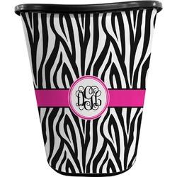 Zebra Print Waste Basket - Double Sided (Black) (Personalized)