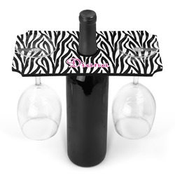 Zebra Print Wine Bottle & Glass Holder (Personalized)
