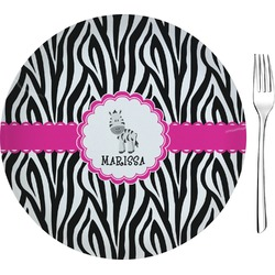 "Zebra Glass Appetizer / Dessert Plates 8"" - Single or Set (Personalized)"