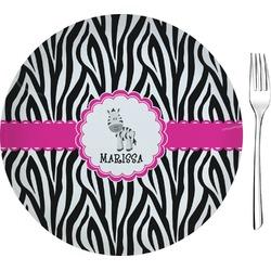 "Zebra Glass Appetizer / Dessert Plates 8"" - Single or Set (Personalized)"