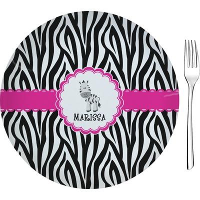 "Zebra 8"" Glass Appetizer / Dessert Plates - Single or Set (Personalized)"