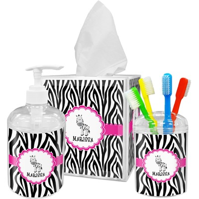 Zebra Acrylic Bathroom Accessories Set w/ Name or Text