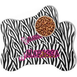 Zebra Bone Shaped Dog Food Mat (Personalized)