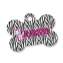 Zebra Bone Shaped Dog Tag (Personalized)
