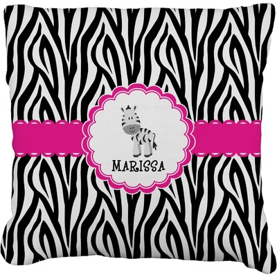 Zebra Burlap Throw Pillow (Personalized)
