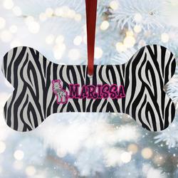 Zebra Ceramic Dog Ornaments w/ Name or Text