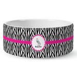 Zebra Ceramic Dog Bowl (Personalized)