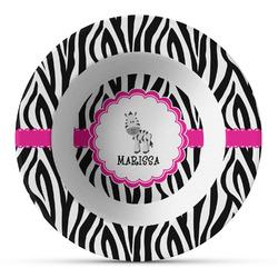 Zebra Plastic Bowl - Microwave Safe - Composite Polymer (Personalized)