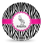 Zebra Microwave Safe Plastic Plate - Composite Polymer (Personalized)