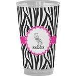Zebra Drinking / Pint Glass (Personalized)