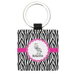 Zebra Genuine Leather Rectangular Keychain (Personalized)