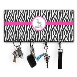 Zebra Key Hanger w/ 4 Hooks w/ Graphics and Text