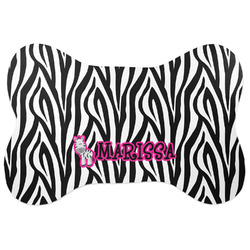 Zebra Bone Shaped Dog Food Mat (Large) (Personalized)