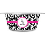 Zebra Stainless Steel Dog Bowl (Personalized)