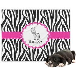 Zebra Minky Dog Blanket - Large  (Personalized)