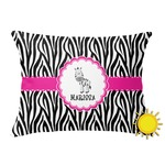 Zebra Outdoor Throw Pillow (Rectangular) (Personalized)