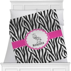 "Zebra Fleece Blanket - Twin / Full - 80""x60"" - Single Sided (Personalized)"