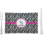Zebra Glass Rectangular Lunch / Dinner Plate - Single or Set (Personalized)