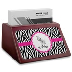 Zebra Red Mahogany Business Card Holder (Personalized)