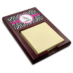 Zebra Red Mahogany Sticky Note Holder (Personalized)