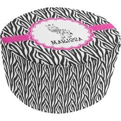 Zebra Round Pouf Ottoman (Personalized)