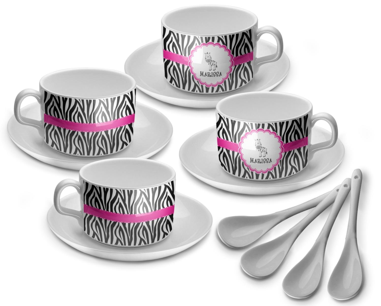 Zebra tea cup set of 4 personalized youcustomizeit for Zebra kitchen set