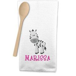 Zebra Waffle Weave Kitchen Towel (Personalized)