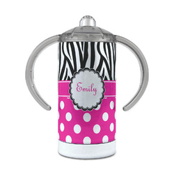 Zebra Print & Polka Dots 12 oz Stainless Steel Sippy Cup (Personalized)