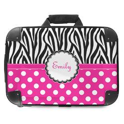 Zebra Print & Polka Dots Hard Shell Briefcase (Personalized)