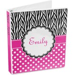 Zebra Print & Polka Dots 3-Ring Binder (Personalized)