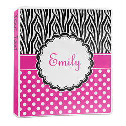Zebra Print & Polka Dots 3-Ring Binder - 1 inch (Personalized)