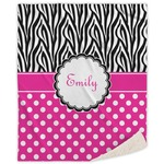 Zebra Print & Polka Dots Sherpa Throw Blanket (Personalized)