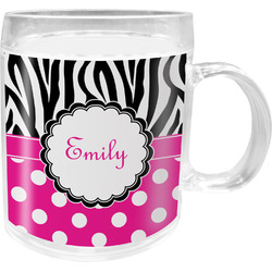 Zebra Print & Polka Dots Acrylic Kids Mug (Personalized)