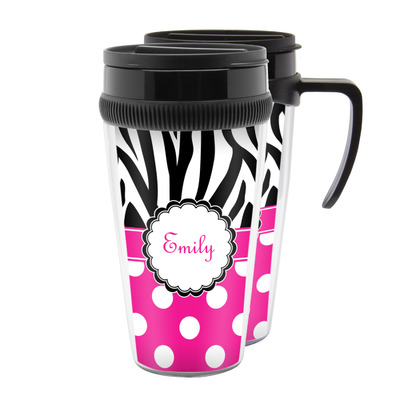 Zebra Print & Polka Dots Acrylic Travel Mugs (Personalized)