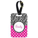 Zebra Print & Polka Dots Aluminum Luggage Tag (Personalized)