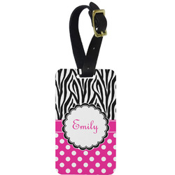Zebra Print & Polka Dots Metal Luggage Tag w/ Name or Text