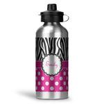 Zebra Print & Polka Dots Water Bottle - Aluminum - 20 oz (Personalized)