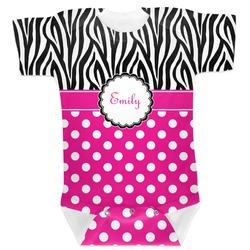 Zebra Print & Polka Dots Baby Bodysuit 6-12 (Personalized)