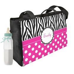 Zebra Print & Polka Dots Diaper Bag w/ Name or Text