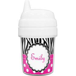 Zebra Print & Polka Dots Baby Sippy Cup (Personalized)